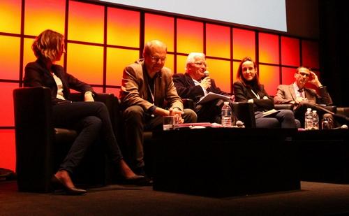 De gauche à droite : Aurélie Gibiat, Jacques Trentesaux, Marc Mentré, Julia Cagé, Denis Bouchez. (Crédit photo : Camille Charpentier)