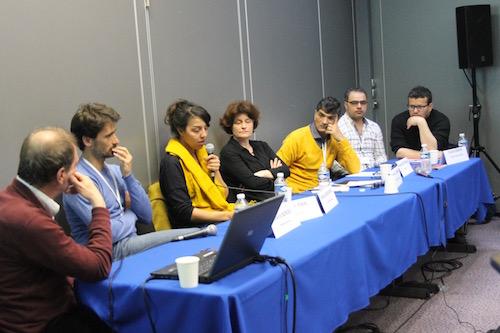 De gauche à droite : Thierry Borde, Julien Pain, Rafika Bendermel, Garance Le Caisne, Rajaa Aboudagga et Youcef Seddik. (Flora Battesti)