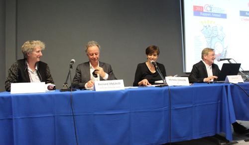 De gauche à droite : Kathleen Grosset, Bernard Angaud, Michèle Léridon, Patrick Eveno (A. Merle)