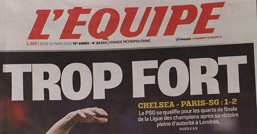 L'Equipe est encore aujourd'hui le seul quotidien sportif français. Crédit photo : Théo Sorroche.