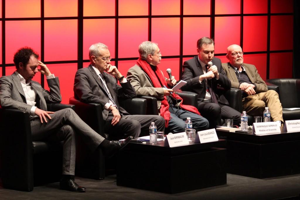 De gauche à droite : Jean Birnbaum, Jean-Louis Bianco, Dominique Gerbaud, Christophe Habas, Jean-François Kahn. Crédit photo : Noémie Lair